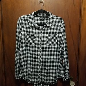 Relativity Black and White Plaid Button Down
